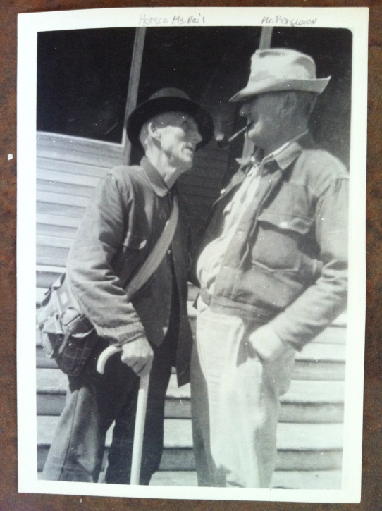 Horace McNeil (left) talks to Joe Ferguson, a neighbor from a nearby farm between Mertens and Brandon, Texas. Photo courtesy of Robert Orr.