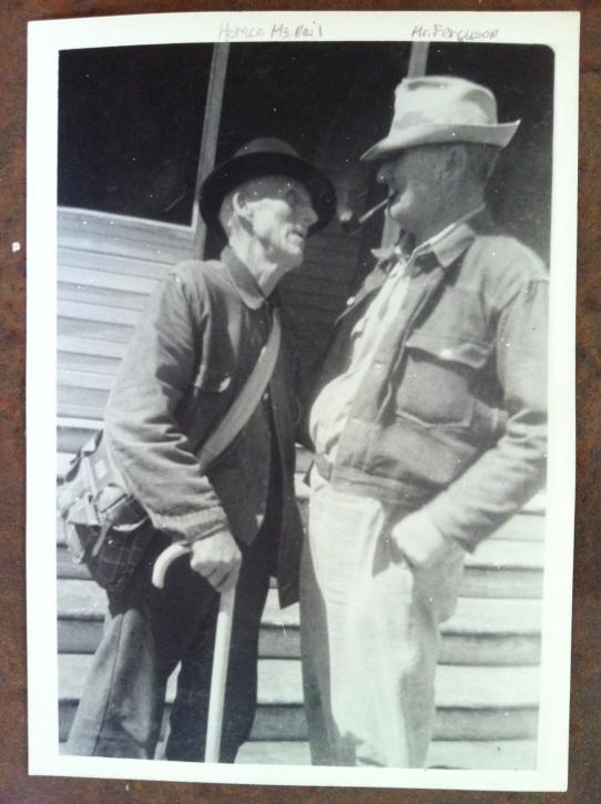 Horace McNeil (left) talks to Joe Ferguson, a neighbor from a nearby farm between Mertens and Brandon, Texas. Photo courtesy of Robert Orr.